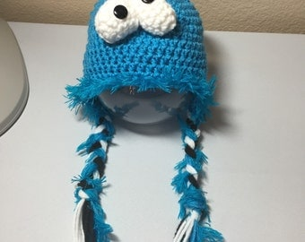Crochet any size NB through adult Cookie Monster Sesame Street earflap hat