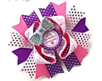 Birthday Princess Bow, Birthday Bow, Birthday Hair Bow, Birthday Hairbow, Birthday Headband, Birthday Baby, Birthday Tiara Bow