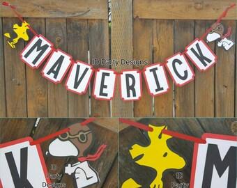 PEANUTS SNOOPY CHARLIE Brown Woodstock Birthday baby shower banner