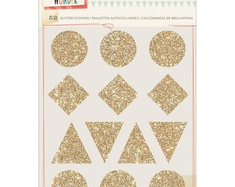 Crate Paper Wonder Glitter Stickers Shapes 4/Pkg - 680241 scrapbook embellishments, cardmaking stickers