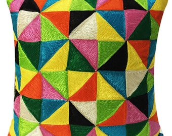 Triangles Embroidered Pillow