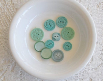 Ten Teal or Greenish-Blue Vintage Buttons