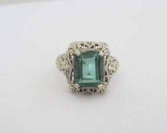 Vintage Sterling Silver Emerald Filigree Ring Size 8
