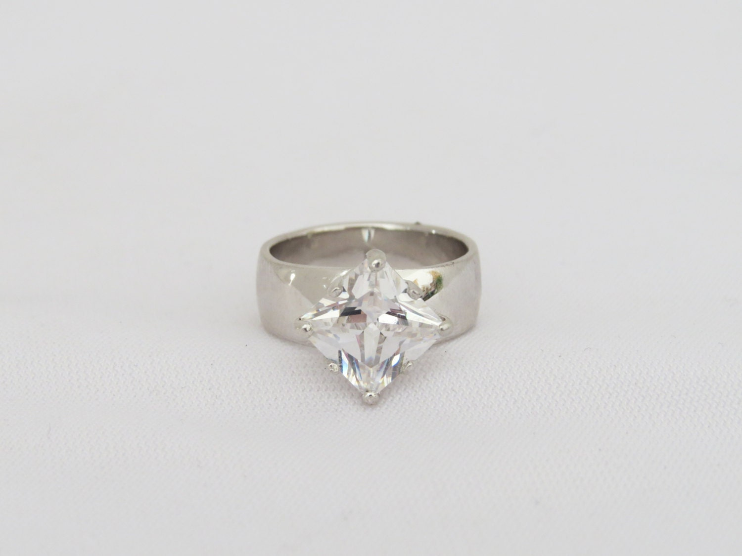 vintage sterling silver princess cut white topaz ring size 6 5