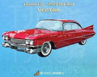 Classic Car 1959 Hot Rod, Vector, Digital, Realistic Clip Art, Commercial, EPS, Printable, Vehicle, Engine
