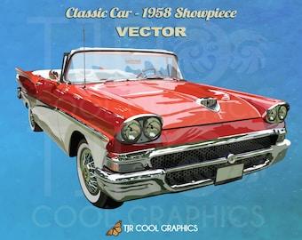 Classic Car 1958 Showpiece, Vector, Digital, Realistic Clip Art, Commercial, EPS, Printable, Vehicle, Engine