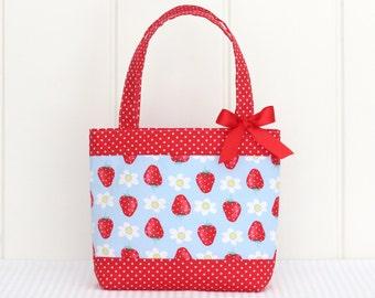 Mini Tote Bag / Girls Bag / Kids Bag - Strawberries