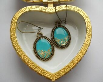 Teal earrings, turquoise earrings, gold flakes resin earrings, resin jewelry, antique brass ear wires, dangle earrings, gold flakes jewelry