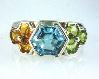 Natural Blue Topaz, Citrine & Peridot Hexagonal Cut stone Ring 925 Sterling Silver
