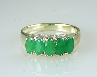 Genuine Oval Colombian Emerald Band Ring .925 SS Sterling Silver