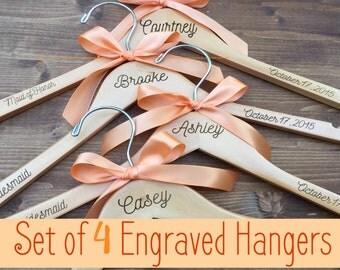 Set of 4 Engraved Bridesmaid Hangers, 4 Hangers, Name Hanger, Wedding Hanger, Personalized Bridal hanger, Bridal Gift, name hanger