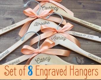 Set of 8 Engraved Bridesmaid Hangers, 8 Hangers, Name Hanger, Wedding Hanger, Personalized Bridal hanger, Bridal Gift, name hanger