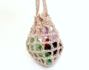 Crochet Pouch Necklace, Crystals Pouch Necklace, Adjustable Necklace, Medicine Bag Crystals, Stone Holder Pouch