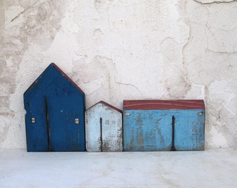 Wooden houses, set houses, miniature houses, home decor, gift ideas, recycled houses, Christmas gift, wooden house, recycled wood, blue