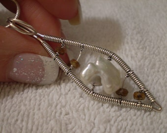 Mother Of Pearl (Natural) Citrine (Natural) Hand Wired 925 Sterling Silver Necklace - 18 Inch