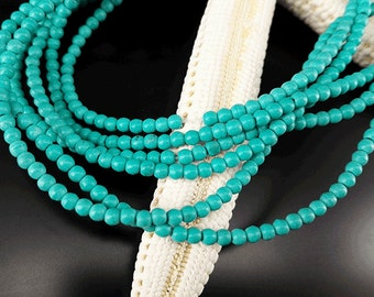 2 Full Strand Approx 360 pcs 2.5mm Howlite Turquoise Smooth Round Beads Gemstone Beads