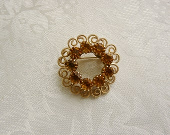 Vintage Golden Amber Orange Rhinestones Circle Brooch Pin Designer Collectible Gift Wedding Prom Homecoming