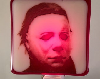 Michael Myers Halloween Night Light Classic Horror Halloween Fused Glass