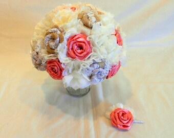 Coral Burlap Wedding Bouquet, Burlap Bridal Bouquet, Keepsake Bouquet, Fabric Bouquet, Rustic Bouquet, Burlap and Lace, Coral Bouquet