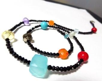 Necklace spinel black micro cut necklace jewelry, gemstone jewelry gemstone natural amethyst christmas aquamarine