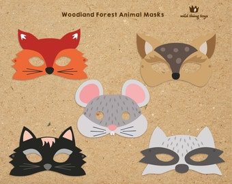 Woodland Forest Animals Printable Masks, woodland animal mask, fox, deer, raccoon, mouse and cat