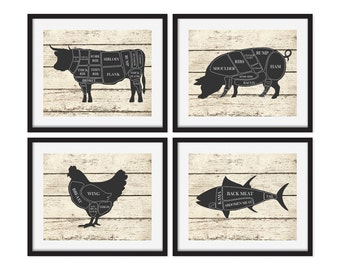 Butcher Art Prints, Kitchen Wall Art, Cow, Pig, Chicken, Fish, Butcher Chart, Rustic Decor, Set of 4 Prints, Faux Wood, Kitchen Art