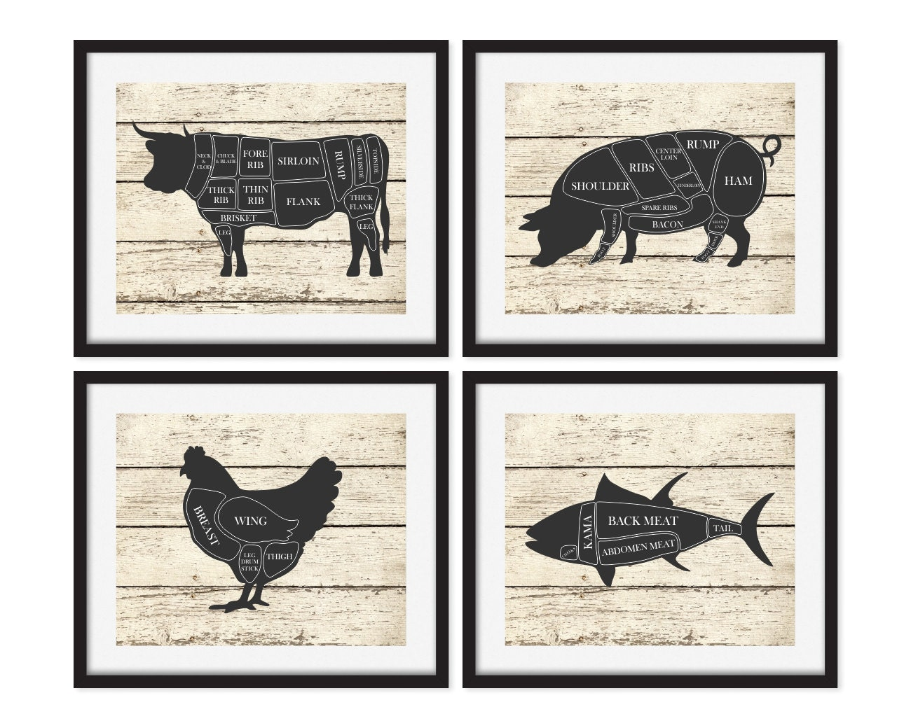 Butcher Art Prints Kitchen Wall Art Cow Pig Chicken Fish
