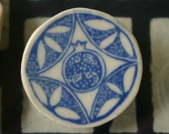 pomegranate brooch delft blue porcelain. Brisbane Australia