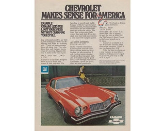 vintage magazine ad for a 1974 Camaro and Lark cigarettes -2