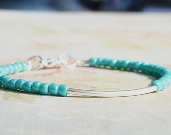 Silver And Turquoise Bracelet, Seed Bead Bracelet, Stacking Bracelet, Beaded Bracelet, Minimalist Bracelet, Dainty Bracelet, Simple Bracelet