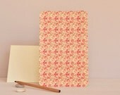 Large card printed with a red floral pattern ( envelop included ), handmade stationery