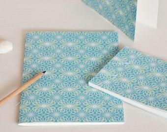 Stationery set, 2 handbound notebooks and a card, blue pattern