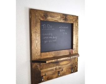 Entryway Chalkboard Organizer, Chalkboard Shelf, Entry, Command Station, Chalkboard Key Hooks, Valentine's Day, Gift for Her, Rustic Home