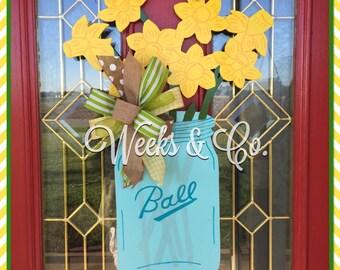 Jar with Daffodils Summer Door Hanger Front Door