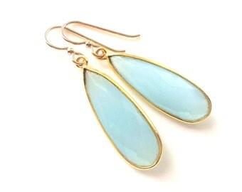 Blue Aqua Chalcedony Gold Earring, Light Blue Aqua Chalcedony Earring