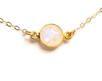 Moonstone Gold Necklace, Layering Moonstone Delicate Necklace in Gold Filled