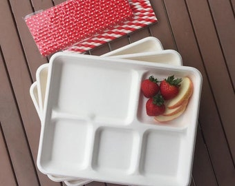 Biodegradable Retro Style White Lunch Trays -12 Pack and Red Paper Drinking Straws - Stripe /PolkaDot Straw- Birthday Supply- Picnic Supply