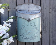Galvanized Metal Post Box in French Country Custom Colors - OUT OF STOCK until mid-September!!