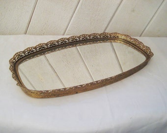 Mirror Vanity Tray With Brass Filigree Sides Bathroom Make Up