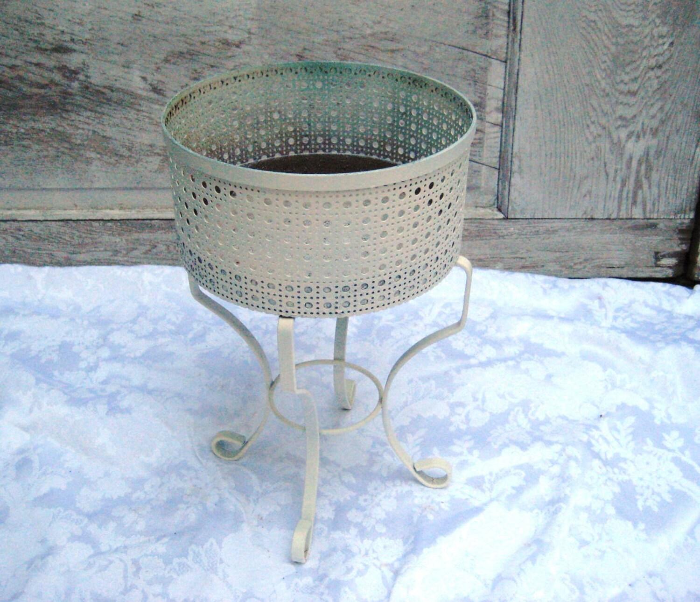 vintage mid century plant stand off white planter pot metal. Black Bedroom Furniture Sets. Home Design Ideas