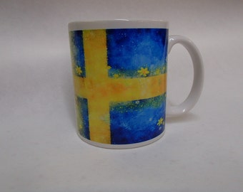 Scandinavian Swedish Sweden Flag with Flowers  #694 Coffee Tea Mug