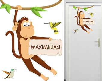 Wall decall monkey door sign with name
