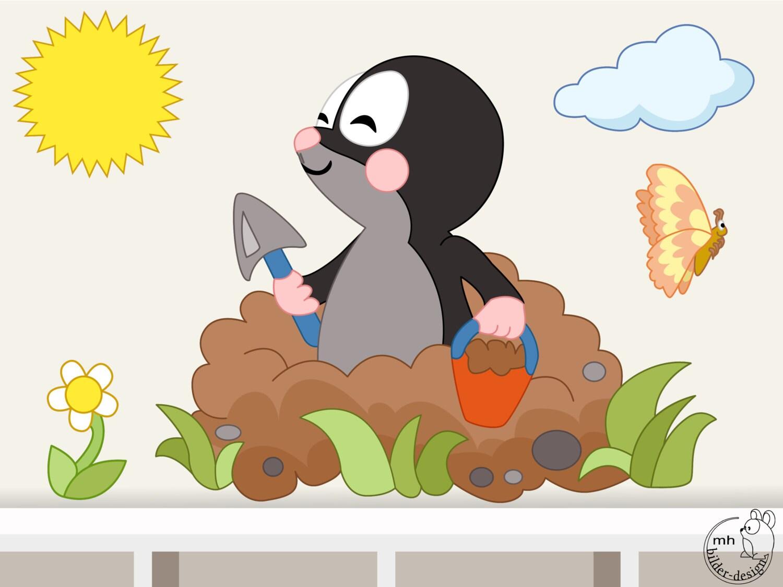 Wandtattoo maulwurf für kinderzimmer babyzimmer kinder von mhbilder