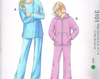 Size 4-14 Girl's Jogging Suit Sewing Pattern - Sweatsuit - Sweatshirt Pattern - Sweatpants Pattern  - Hooded Sweatshirt - Kwik Sew 3101