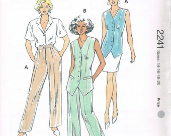 Size 14-20 Misses' Sewing Pattern - Straight Leg Wide Leg Pants Pattern - Tunic Length Button Front Vest Pattern - Vintage Kwik Sew 2241