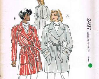 Size XS-XL Misses' Coat Pattern - Double Breasted Pea Coat & Belt Sewing Pattern - Trench Coat Pattern - Sewing For Women - Kwik Sew 2497
