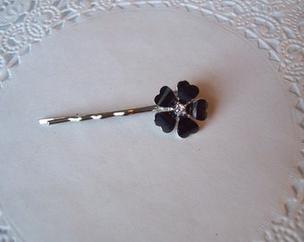 Flower Hair Pin (251) - Black Flower Hair Pin - Black Onyx Hair Pin - Recycled Jewelry - Goth Jewelry