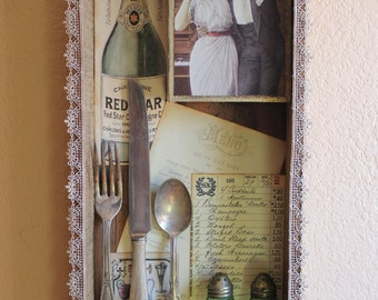 Eat Drink Be Merry - Found Object Assemblage