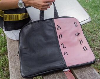 Abugida leather laptop bag