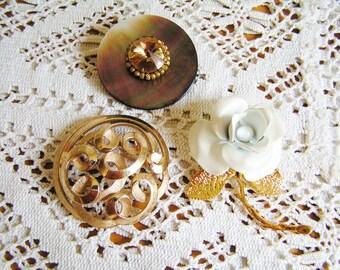 DESTASH Vintage Lot of 3 Lovely Brooches Rhinestones Gold Tone 2 Signed 1 Trifari Enamel White Rose Mother of Pearl MOP